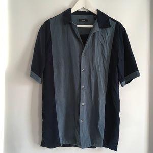 ALFANI Silk Short Sleeve Button Down Shirt - M